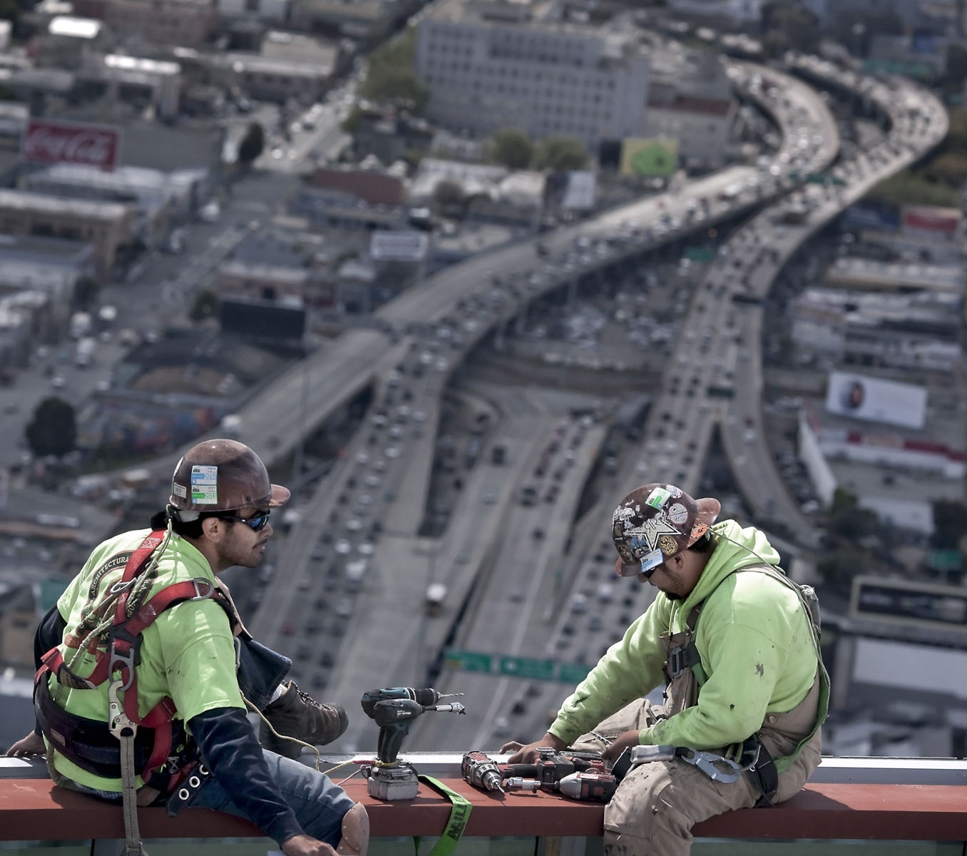 Construction-workers-strapped-in-with-safety-harnesses-atop-One-Rincon-Hill-North-Tower-JA-Best-in-Show-by-Adrian-Mendoza-SR