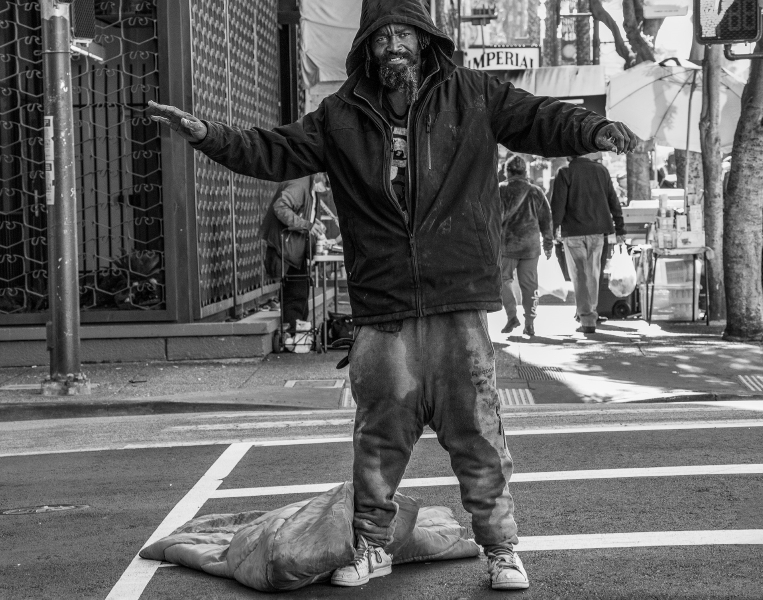 Homeless-Man-in-the-Crosswalk-MB-1-Place-by-Kenneth-Mark-BK