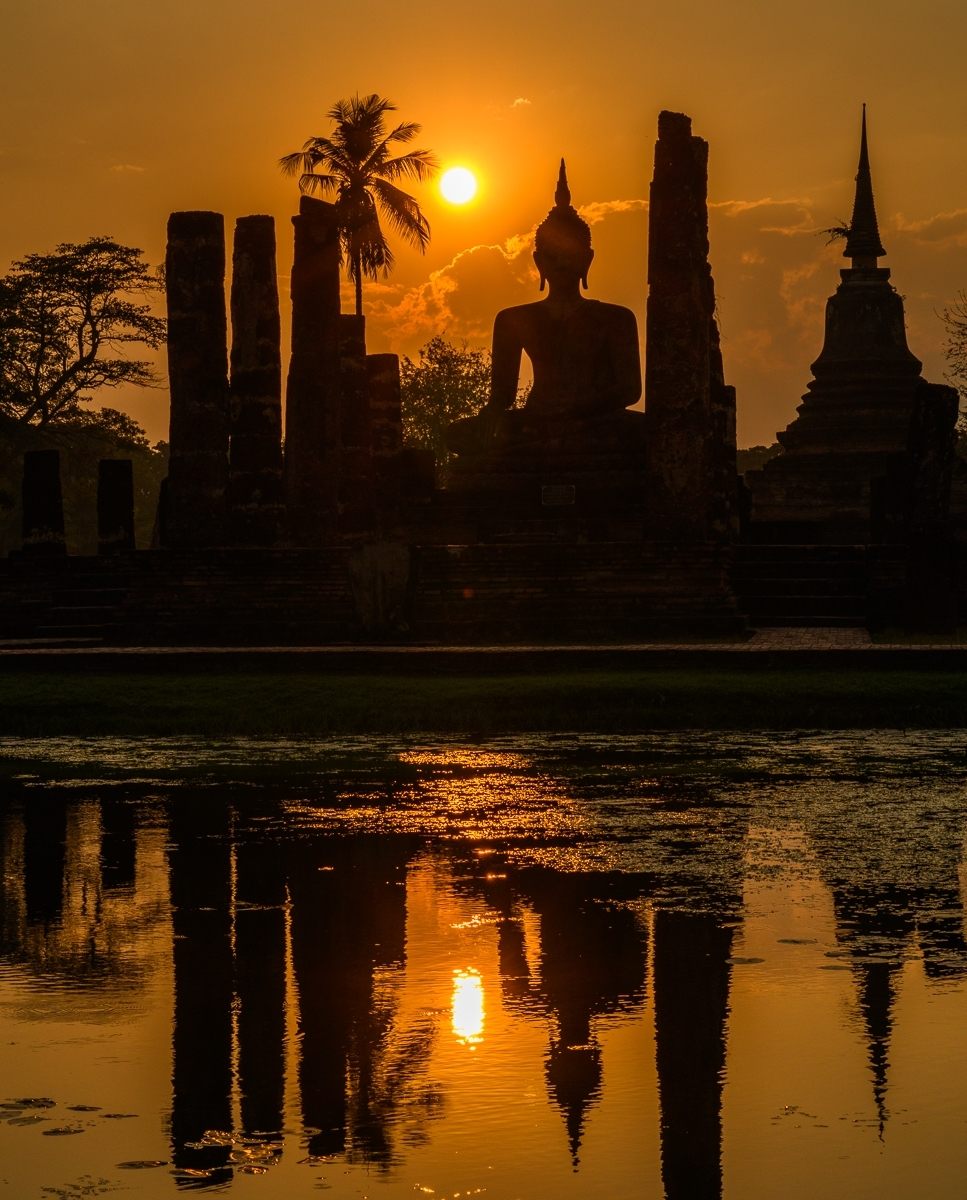 'Buddha and Wat Silhouetted At Sunset, Sukhothai Historical Park, Thailand' (TI 1 Place) by Tim Cuneo - SC