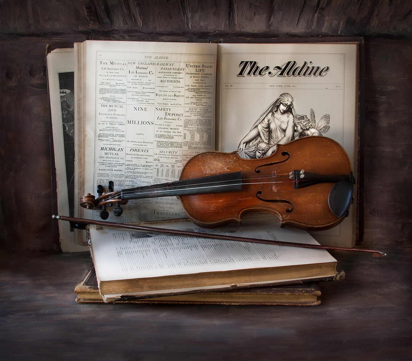 Old-Books-With-Old-Violin-And-Bow-PM-1-Place-by-Claudia-Peterson-LS