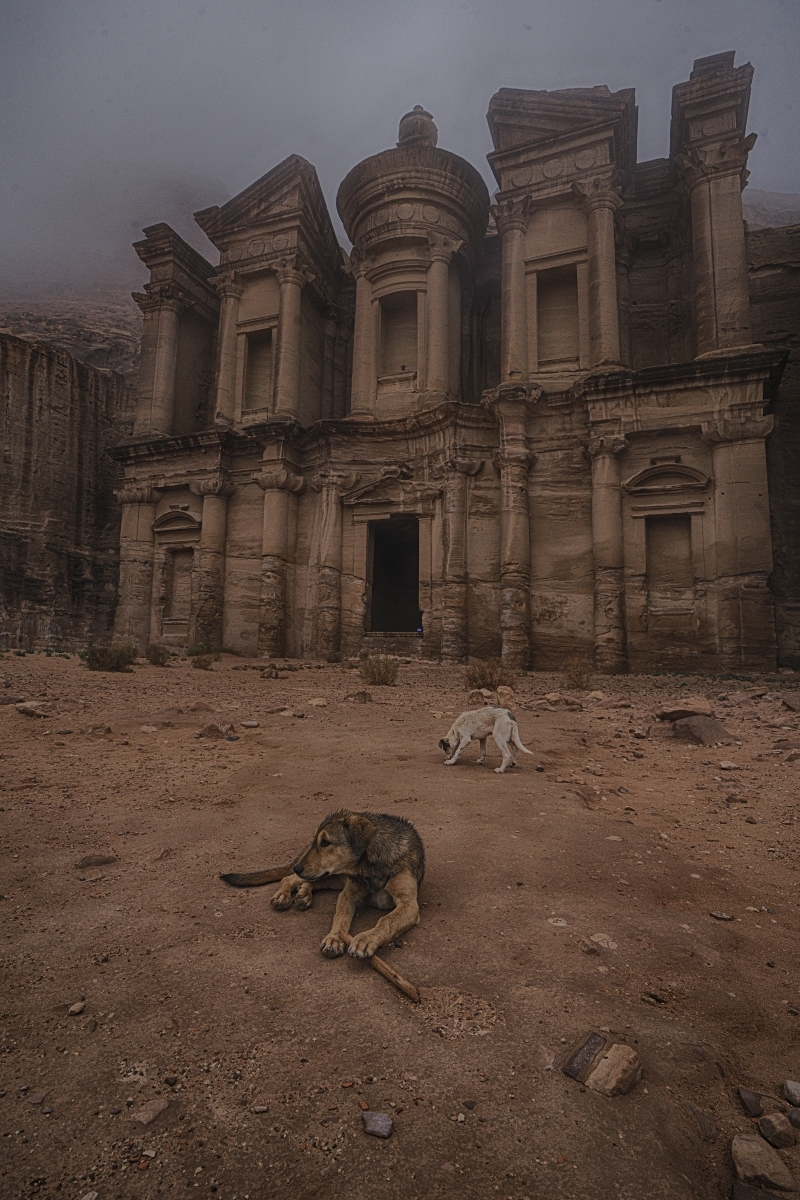 The-denizens-of-Petra-Jordan-sitting-around-on-a-foggy-morning-in-front-of-the-Monastery-TA-1-Place-by-Rajeev-Shankar-FR
